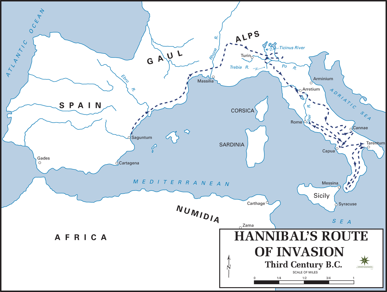 Second Punic War - Hannibals Invasion Route